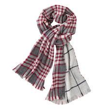 Johnstons Doubleface- Karo-Schal, rot/grau - Ein edler Doubleface-Schal. Zwei klassische Muster. Von Johnstons of Elgin/Schottland, Tradition seit 1797.