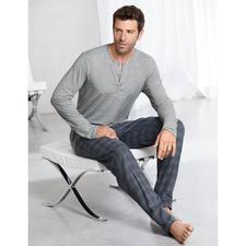 "Hanro Pyjama ""Perfect blend"" - Perfekte Pyjama-Kombi: unvergleichlich zartes Shirt aus MicroModal + kuschelige Hose aus Baumwoll-Flanell."