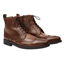 Lottusse Brogue-Boots - Die eleganten Business-Boots für Regentage. Gewachstes Leder. Durchgenähte, gummierte Sohle. Hoher Schaft.
