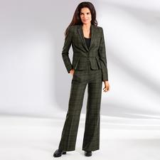 Benbarton Karo-Anzug-Blazer oder -Marlenehose - Hosenanzug. Karomuster. Marlenehose: 3 Klassiker ergeben das Mode-Highlight von heute. Design: BENBARTON New York