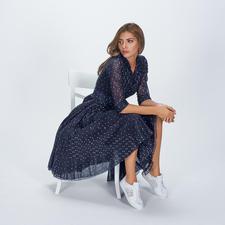 Samantha Sung Tupfen-Kleid - Eleganter Retro-Stil der 40er- und 50er-Jahre. Leichter Baumwoll-Musselin mit modisch unvergänglichem Tupfen-Dessin.