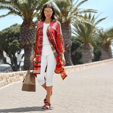 IVKO Kimono-Strickjacke - Außergewöhnlich vielfarbiger Jacquard-Strick in modischer Kimono-Form. Eine Rarität aus Serbien.