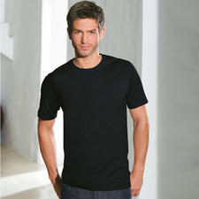Kurzarm, Rundhals-Shirt, Schwarz