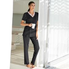 Verdiani Nadelstreifen-Pyjama - Moderne, cleane Form. Klassische Nadelstreifen. Feminine Spitze. Made in Italy.