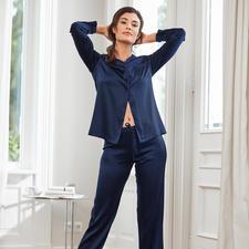 Chiara Fiorini Seiden-Pyjama, Nachtblau - Schöner Schlafen in edler Stretch-Seide.