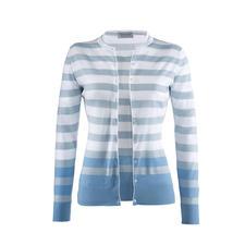 Smedley Blockstreifen-Twinset, Weiß/Bleu - Purer Luxus aus wertvoller Sea Island-Baumwolle.
