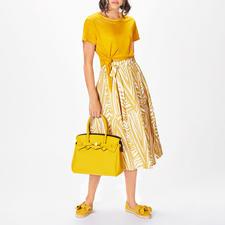 La Fée Maraboutée Leinenstrick-Shirt oder Leinenrock - Reines Leinen in seiner wohl modischsten und femininsten Form: Palmblätter-Rock & Knot-Shirt .