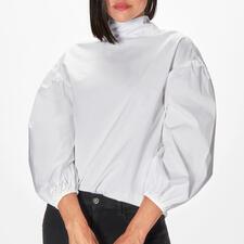 aybi Stehkragen-Schluppen-Bluse - Die modische Neuinterpretation der weißen Basic-Bluse. Vom Münchner Newcomer-Label aybi.