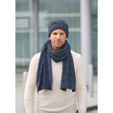 Blue Loop Originals Schal oder Mütze - Im angesagten Denim-Look aus Recycling-Fasern gestrickt.