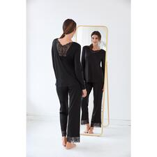Hanro Spitzen-Pyjama - Mit femininen Spitzeneinsätzen verziert: das elegante Couture-Piece unter Ihren Pyjamas.