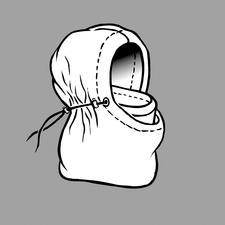 Raffiniert nach innen geschlagen und von außen festgezurrt, schützt die Balaklava Kopf, Hals und Gesicht und ist weich, warm und wasserabweisend.