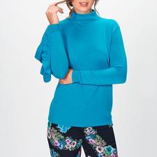 Blugirl Blütenhose oder Turtleneck-Pullover - Blugirls weite Blütenhose + Statement-Sleeve-Pullover =  Trend-Look der Saison.
