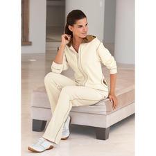 Pima-Cotton-Anzug, Ecru/Cappuccino - Am Ende eines langen Tages verwöhnt Sie der weiche Komfort handgepflückter, peruanischer Pima-Cotton.