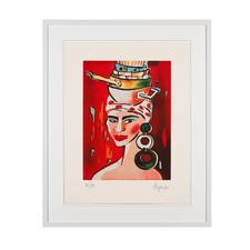 Elvira Bach – Kopftuch 2010 - Unverkennbar Elvira Bach: Eines ihrer weltberühmten Frauenportraits als Radierung. Die letzten 20 Exemplare der 99er-Edition. Maße: gerahmt 63 x 78 cm