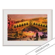 """Helle Jetzig: """"Rialtobrücke P1"""" - Helle Jetzigs Venedig: Einzigartige Technik aus Malerei, Siebdruck und Schwarz-Weiß-Fotografie. Erste Papier-Edition, die nachträglich mit einem Siebdruck versehen wurde. 40 Exemplare."""