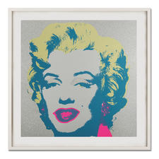"Andy Warhol – Marilyn Diamond Dust - Andy Warhols Marilyn Monroe – mit glitzerndem ""Diamond Dust"" veredelt. Siebdrucke aus der bedeutenden Sunday B. Morning Edition. Maße: gerahmt 112 x 112 cm"