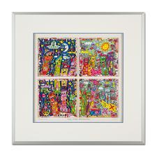 """James Rizzi: """"New York City sings and swings"""", 2013 - 3D-Papierskulpturen des verstorbenen James Rizzi. 175 Exemplare."""