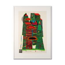 Friedensreich Hundertwasser – Good Morning City HWG41 - Einer der letzten noch erhältlichen handsignierten Siebdrucke von Hundertwasser. Im seltenen Hochformat. Maße: gerahmt 78 x 109 cm
