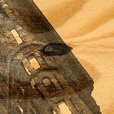 Auf eine 6 mm dicke Fichtenholz-Platte wird das Werk gedruckt.