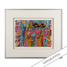 "James Rizzi: ""Look – There are Cows in the City, 2000"" - Handsignierte 3D-Papierskulpturen des verstorbenen James Rizzi."