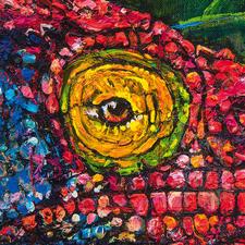 Die Künstlerin übermalt jedes Bild punktuell, um einen haptischen Effekt zu erzielen.