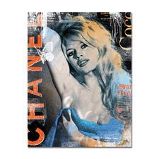 """Devin Miles – Bardot Chanel – Brigitte Bardot - Devin Miles: Der Shootingstar der deutschen """"Modern Pop-Art"""".  Unikatserie """"Bardot Chanel – Brigitte Bardot"""" aus Malerei, Siebdruck und Airbrush auf gebürstetem Aluminium. 100 % Handarbeit. Maße: 100 x 130 cm"""