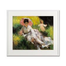 """Pierre-Auguste Renoir – Dame mit Sonnenschirm (1874–76) - Pierre-Auguste Renoir """"Dame mit Sonnenschirm"""" (1874-76) als High-End Prints™. Endlich eine Qualität, die dem großen Meisterwerk tatsächlich gerecht wird. Maße: gerahmt 80 x 70 cm"""