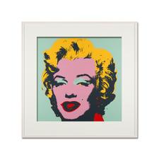 Andy Warhol – Marilyn türkis - Sunday B. Morning Siebdruck auf 1,52 mm starkem Museumskarton. Maße: gerahmt 112 x 112 cm