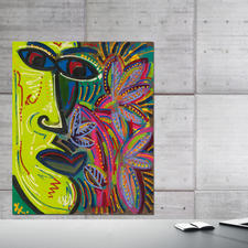 """Stony"", handübermalt, 82 x 100 x 4 cm."