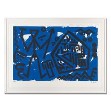 """A. R. Penck – Pentagon blau - A. R. Penck: Die ersten Exemplare seiner viele Jahre unter Verschluss gehaltenen Edition """"Pentagon blau""""."""