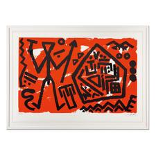 """A. R. Penck – Pentagon rot - A. R. Penck in den wichtigsten Museen der Welt – und jetzt als limitierter Siebdruck bei Ihnen zu Hause. Letzte Exemplare seiner viele Jahre unter Verschluss gehaltenen Edition """"Pentagon rot"""". Maße: gerahmt 118 x 88 cm"""