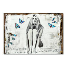 """Devin Miles – Butterflies II - Devin Miles: Der Shootingstar der deutschen """"Modern Pop-Art"""".  Unikatserie aus Malerei und Siebdruck auf gespachtelter Leinwand. 100 % Handarbeit. Maße: 122 x 84 cm"""