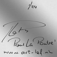 Rückseitig die Signatur des Künstlers und eine stabile Aluminiumleiste für eine mühelose Aufhängung.