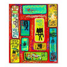 Mikail Akar – Ryra - Erst 7 Jahre alt – schon 4-stellige Verkaufspreise. Deutschlands jüngster Abstraktkünstler Mikail Akar: Handübermalte Edition seiner gefragten Werke im Basquiat-Stil. Maße: 90 x 110 cm