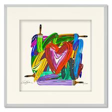 David Gerstein – Touching Heart - Papercut - David Gerstein: Israels bedeutendster Bildhauer mit einer seiner seltenen Papier-Skulpturen. Handkolorierte 3D-Edition. 270 Exemplare. Maße: gerahmt 52 x 52 cm