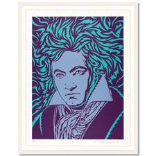 """John van Hamersveld – Blue Beethoven - John van Hamersvelds """"Blue Beethoven"""".  Niedrig limitierte Sonderedition zum 250. Geburtstag von Ludwig van Beethoven. Maße: gerahmt 96,5 x 122,5 cm"""