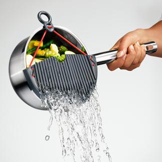 """Abgießer """"Flexy"""" Keine verbrühten Finger. Das Kochgut bleibt sicher im Topf. Nichts kann mehr in die Spüle rutschen."""