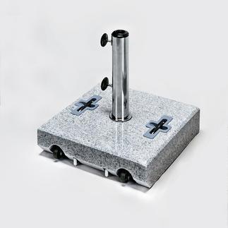 Granit-Schirmständer Kompakter Schirmständer aus echtem Granit mit 2 leichtlaufenden Rollen.