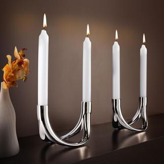 Kerzenhalter Bow, Set für 4 Kerzen Phantastisch wandelbar: Endlich ein Kerzenleuchter, der zu jedem Tisch passt.