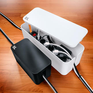 CableBox™ mini oder CableBox™ Moderne Design-Boxen verstecken Steckerleisten bis 38 cm (bzw. 20 cm) Länge.