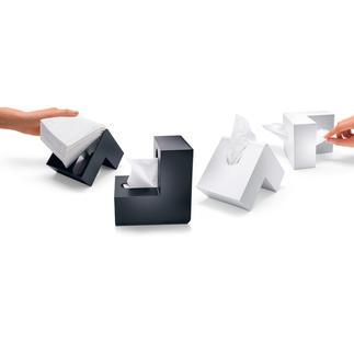 """Kosmetiktuchbox """"Knick"""" Pfiffig mit Knick: Die bessere Box für Kosmetiktücher spart Platz. Und passt in jede Ecke."""