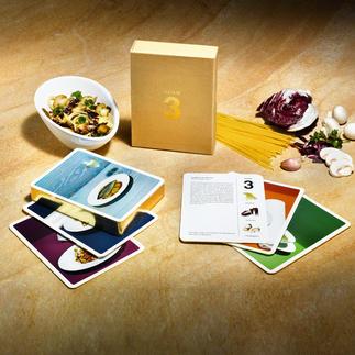 """""""Nimm 3"""" Gourmet-Rezeptkarten Preisgekrönt: Gourmet-Rezepte mit nur 3 frischen Zutaten.Von Spitzenköchen kreiert – schnell & einfach gekocht."""