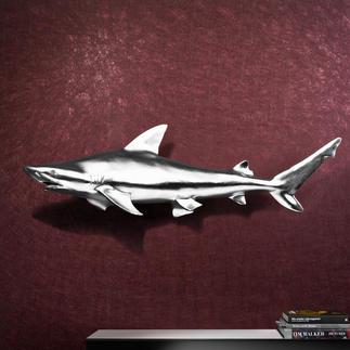 Hai-Trophäe inkl. Aufhängung 1,17 m großer, faszinierender Blickfang. Kapitaler Hai aus Fiberglas. Kunstvoll handgefertigt.