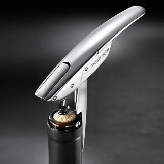 Kellnermesser mit patentierter Hebel-Automatik Mit patentierter Hebel-Automatik. Einfach eindrehen, 1 x ansetzen, drücken (statt mühsam ziehen) - fertig.