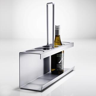 Schlanker Flaschenträger In elegantem Aluminium-Design. Tragkräftig und stabil – dennoch handlich leicht und platzsparend.