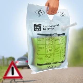 """Kraftstoff-Notfall-Set Der faltbare 5-l-Einweg-""""Kanister"""" mit Handpumpenschlauch: im Notfall immer dabei. Nie im Weg."""