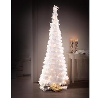Zauberhafter LED-Federbaum Herrlich romantisch: der Weihnachtsbaum aus schneeweißen Federn.