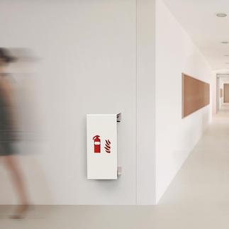 Design-Feuerlöscherhalter Edles Design hält den Brandbekämpfer schick verdeckt – jederzeit einsatzbereit.