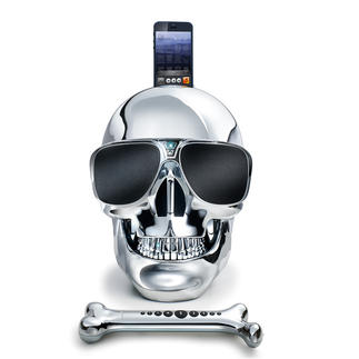 """AeroSkull HD+ Das """"AeroSkull HD+""""-Audiosystem – entwickelt unter der Leitung von Starmusiker Jean Michel Jarre. High-End-Speaker und Kultobjekt zugleich."""