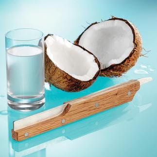 Kokosnuss-Öffner Frische Kokosnuss – im Nu geöffnet. Sauber zerteilt. Griffig. Sicher. Aus Eichenholz und Edelstahl.